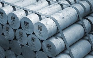 Typical Data Matrix Code on Aluminum Billet