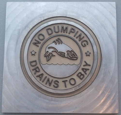 Example of deep logo engraving on a steel stamping plate