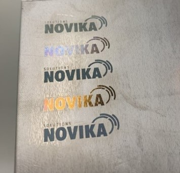 Examples of colored logos created for a demonstration at a Solutions Novika event.