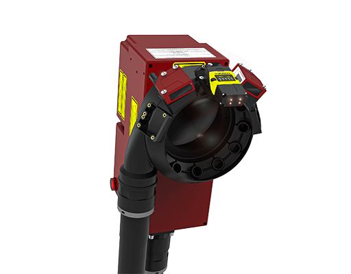 A laser head with the lens up front