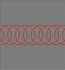 Evenly-spaced circles representing laser pulses for laser etching. Circles are distant compared to laser engraving.
