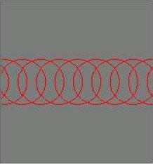 Círculos separados uniformemente que representan los pulsos láser para el grabado por láser. Los círculos son distantes en comparación con el grabado láser.