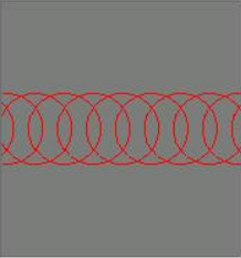 Evenly-space circles representing laser pulses for laser etching. Circles are distant compared to laser engraving.