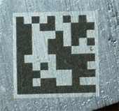 Laser marked data matrix on aluminum