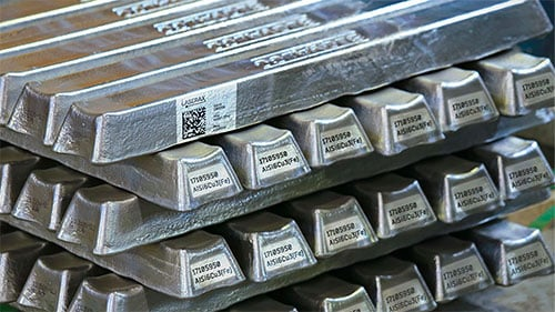 Metal ingots with markings