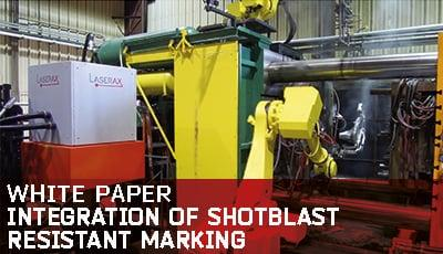 Integration of shotblast resistant marking
